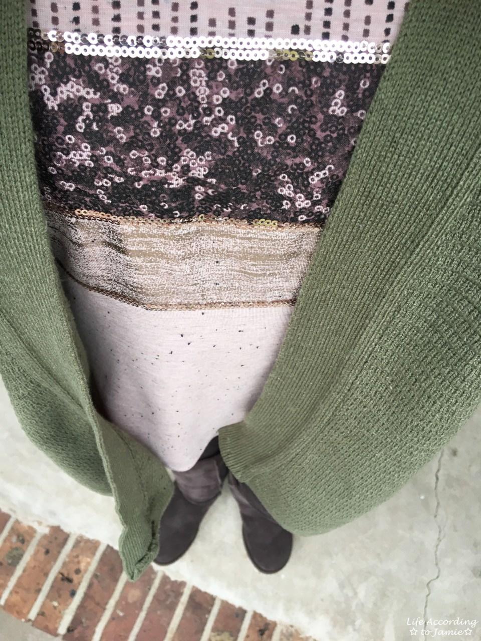 Sequins Stripe Tee + Khaki Chunky Knit 1