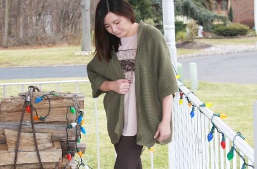 Sequins Stripe Tee + Khaki Chunky Knit