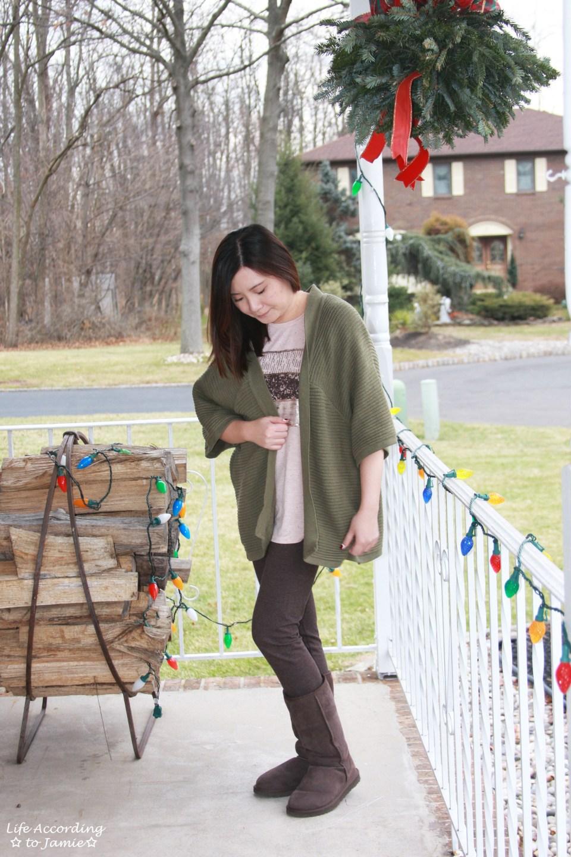 Sequins Stripe Tee + Khaki Chunky Knit 4