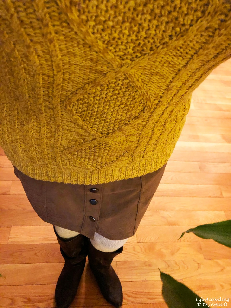 Golden Yellow Cable Knit + Faux Suede Skirt 1