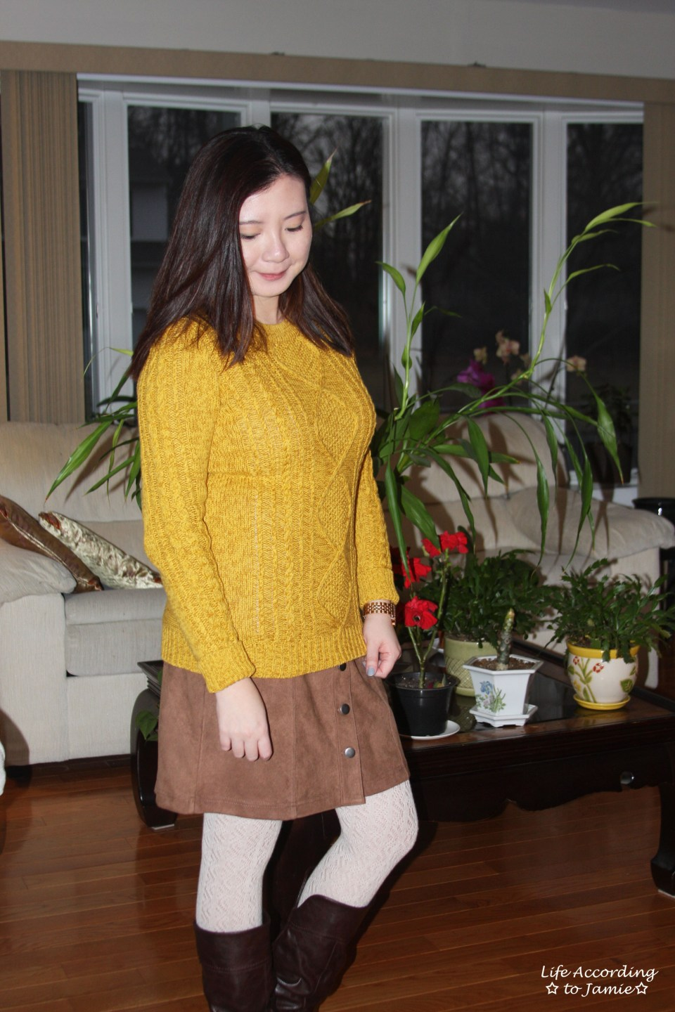 Golden Yellow Cable Knit + Faux Suede Skirt 11