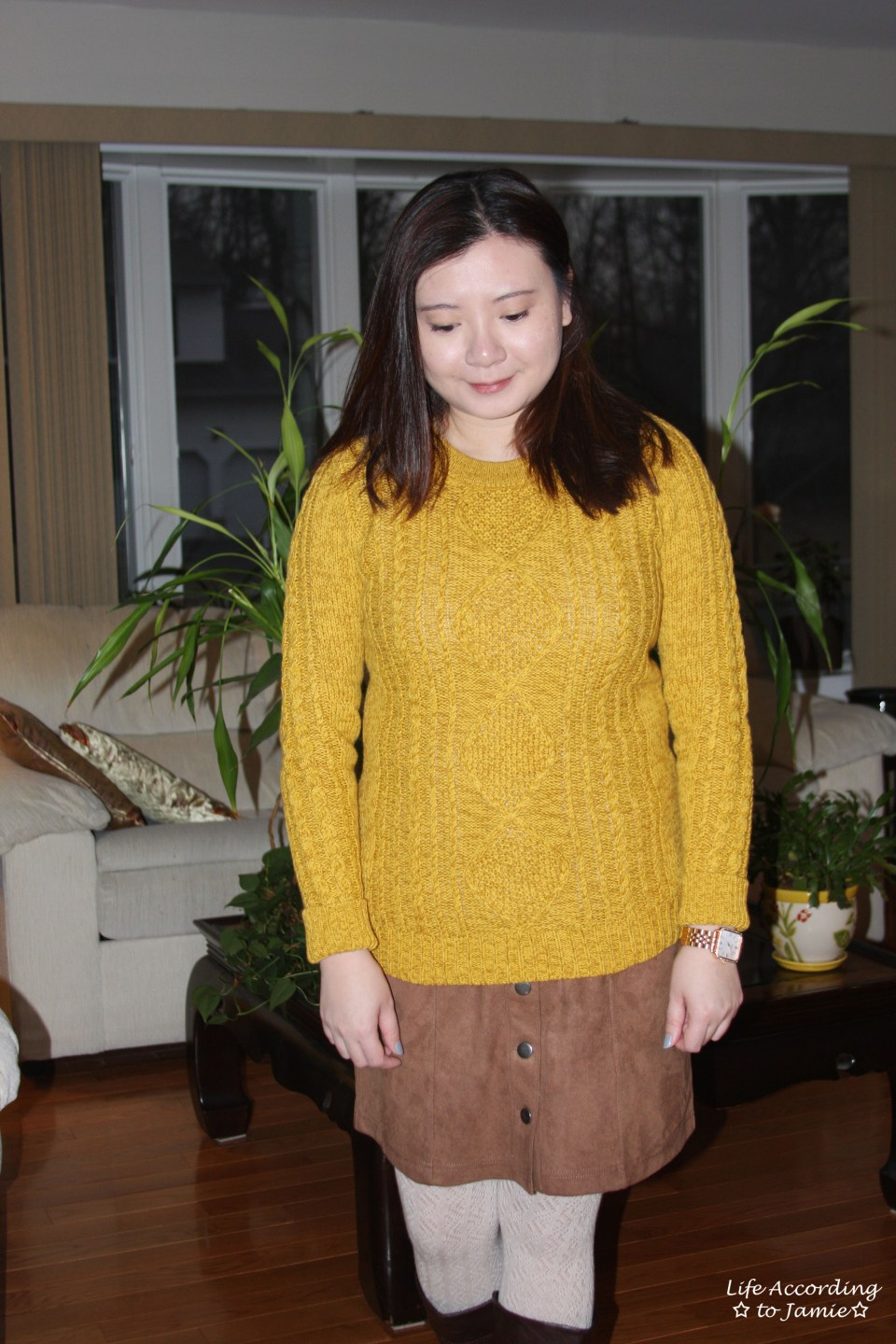Golden Yellow Cable Knit + Faux Suede Skirt 12
