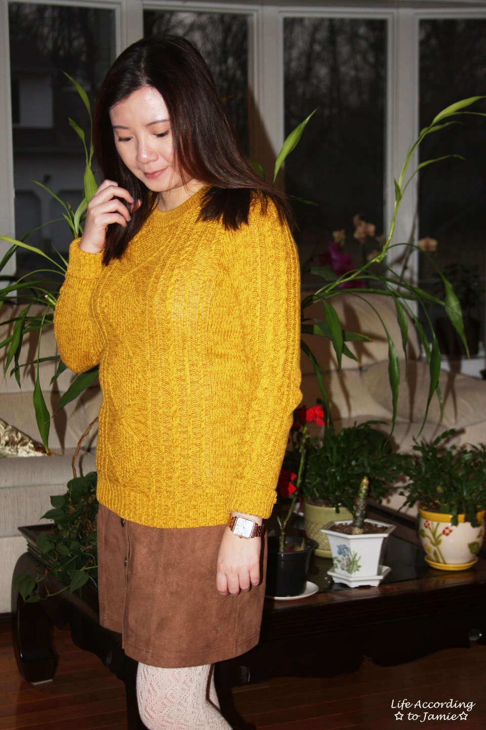 Golden Yellow Cable Knit + Faux Suede Skirt 4