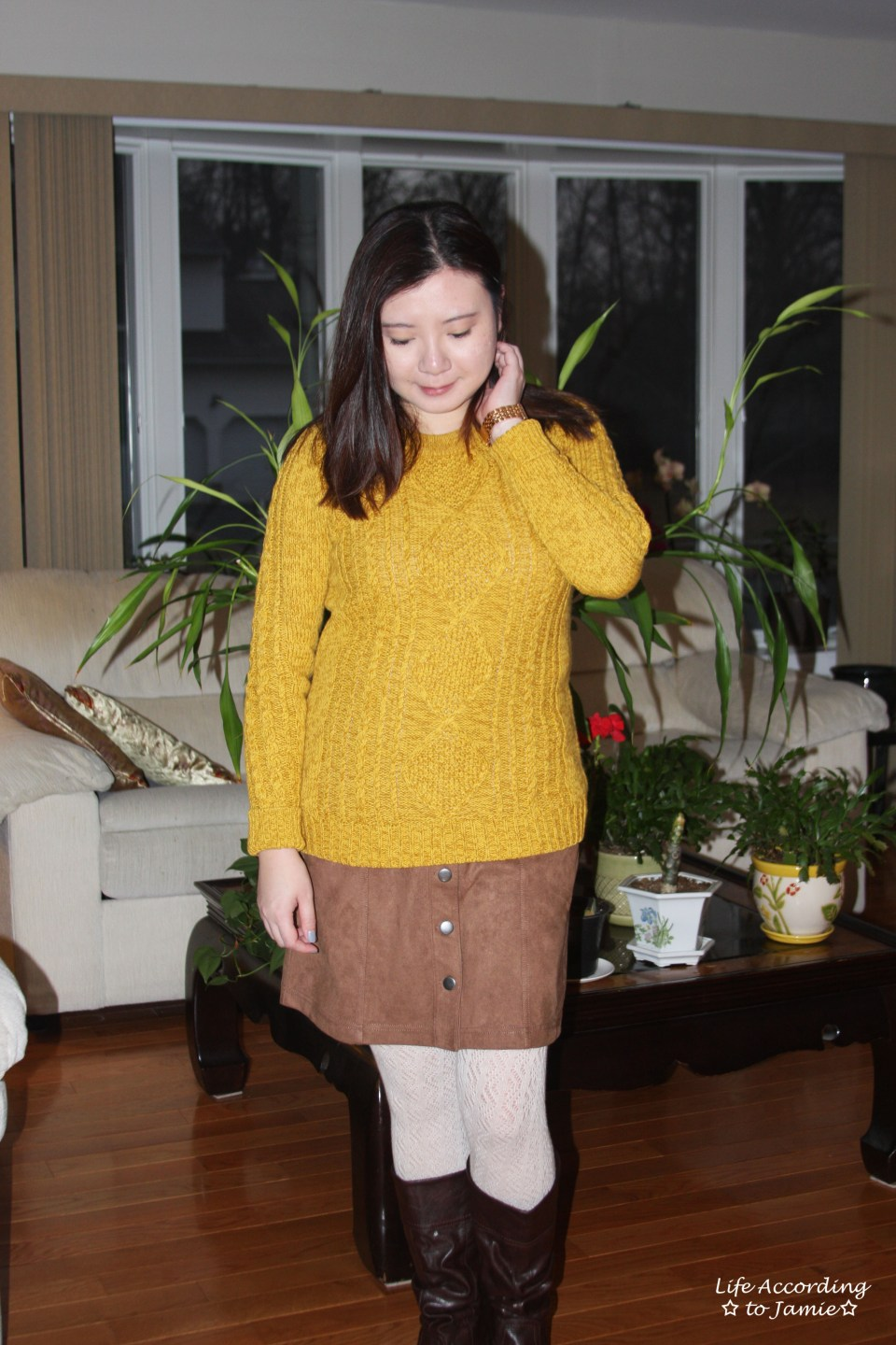 Golden Yellow Cable Knit + Faux Suede Skirt 7