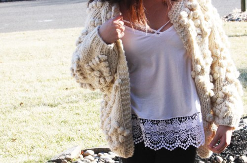 Knit Your Love Pompom Cardigan
