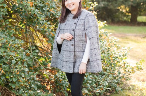 Grey Plaid Cape Coat