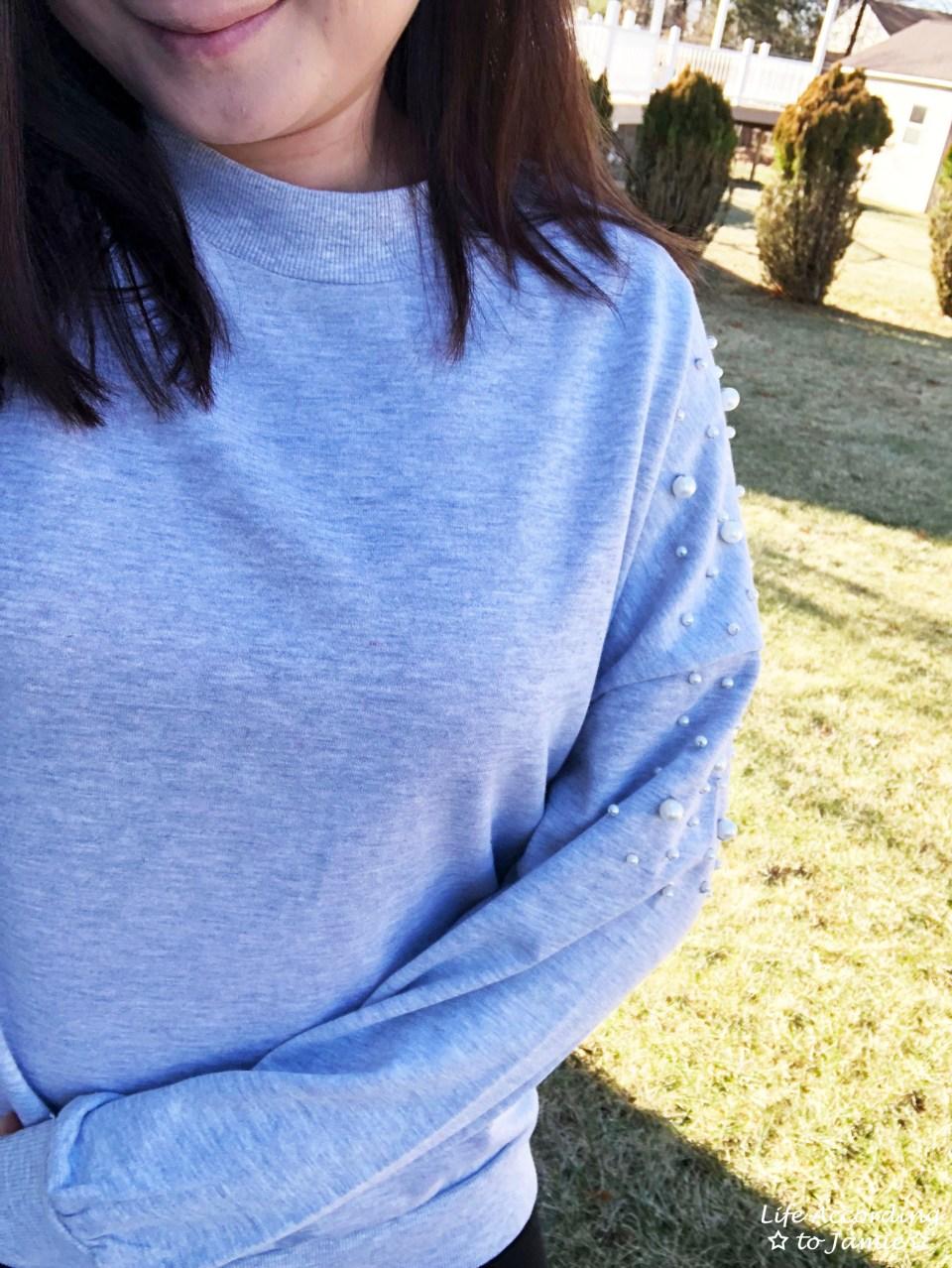 Pearl Embellished Sweatshirt 1