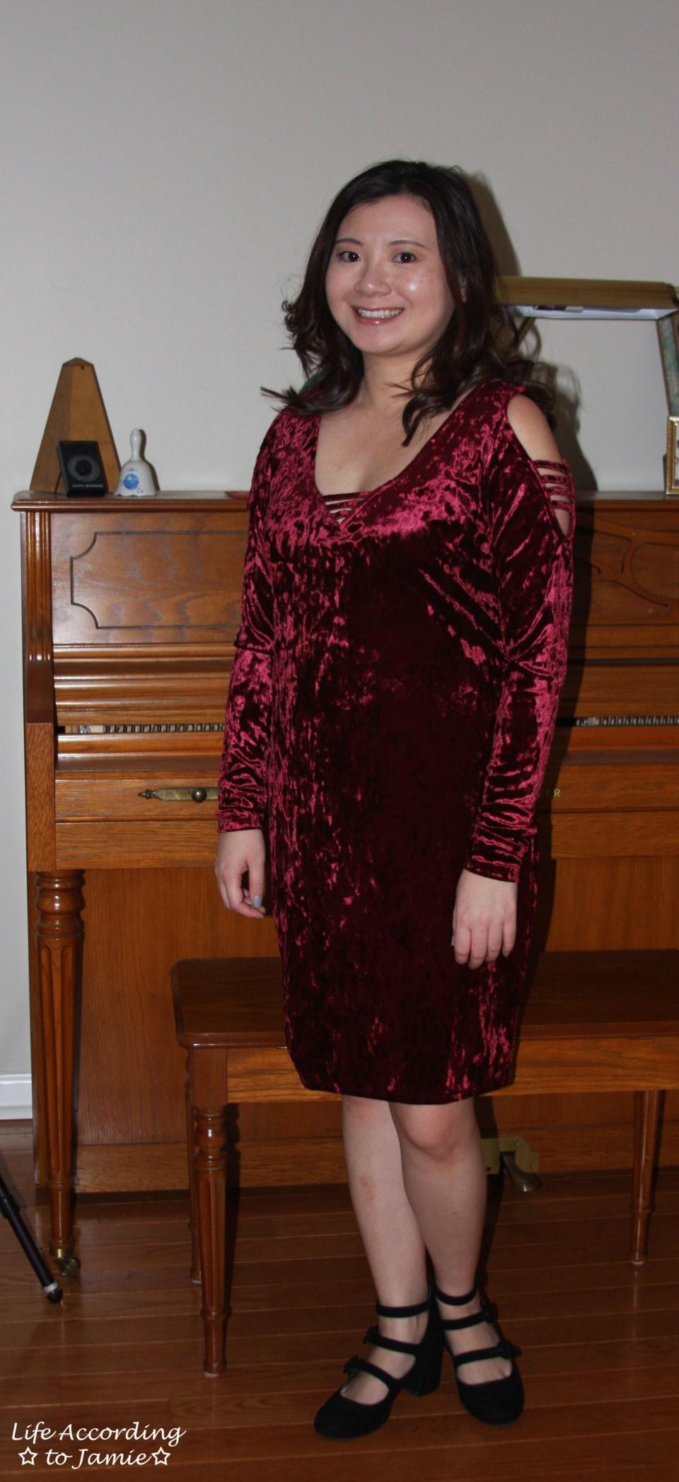 Red Velvet Cold Shoulder Dress 11