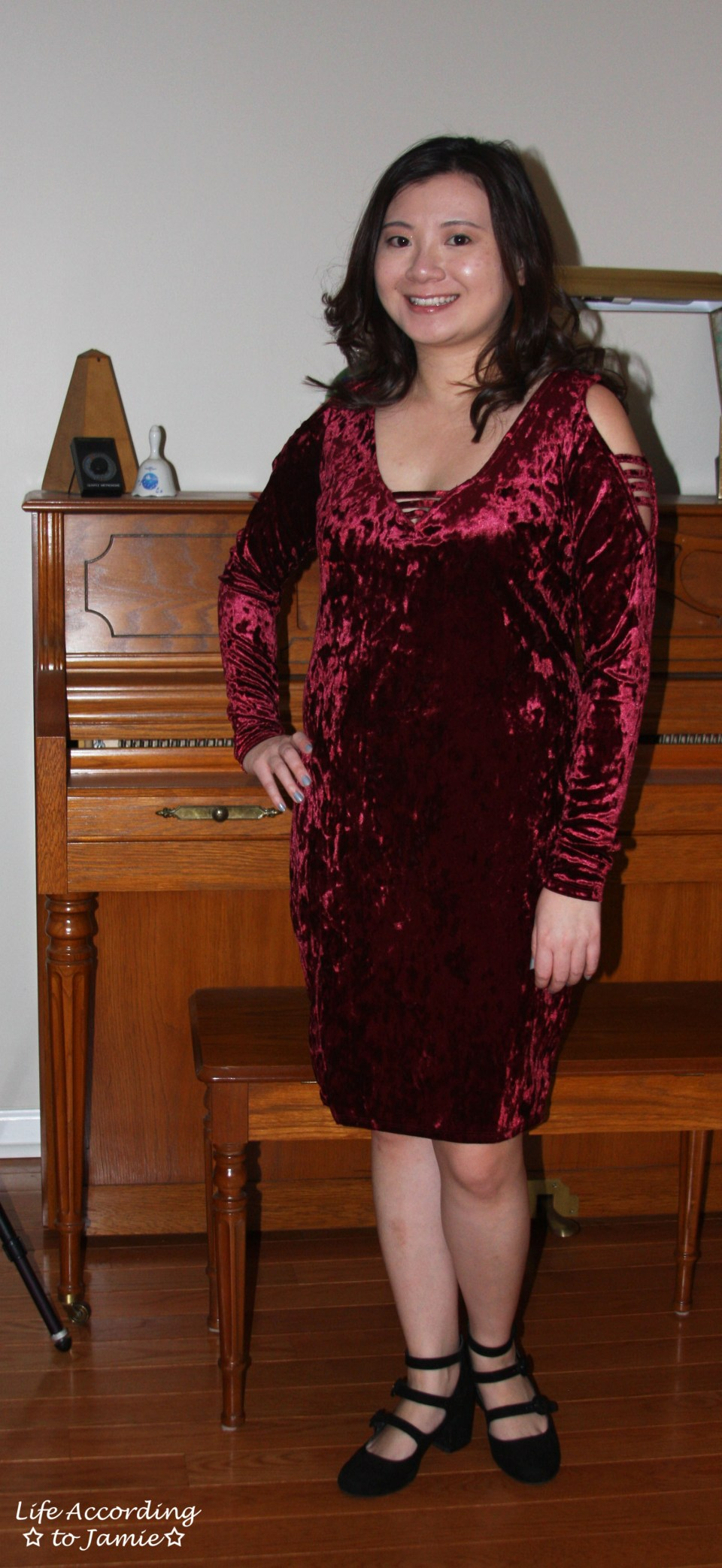 Red Velvet Cold Shoulder Dress 12