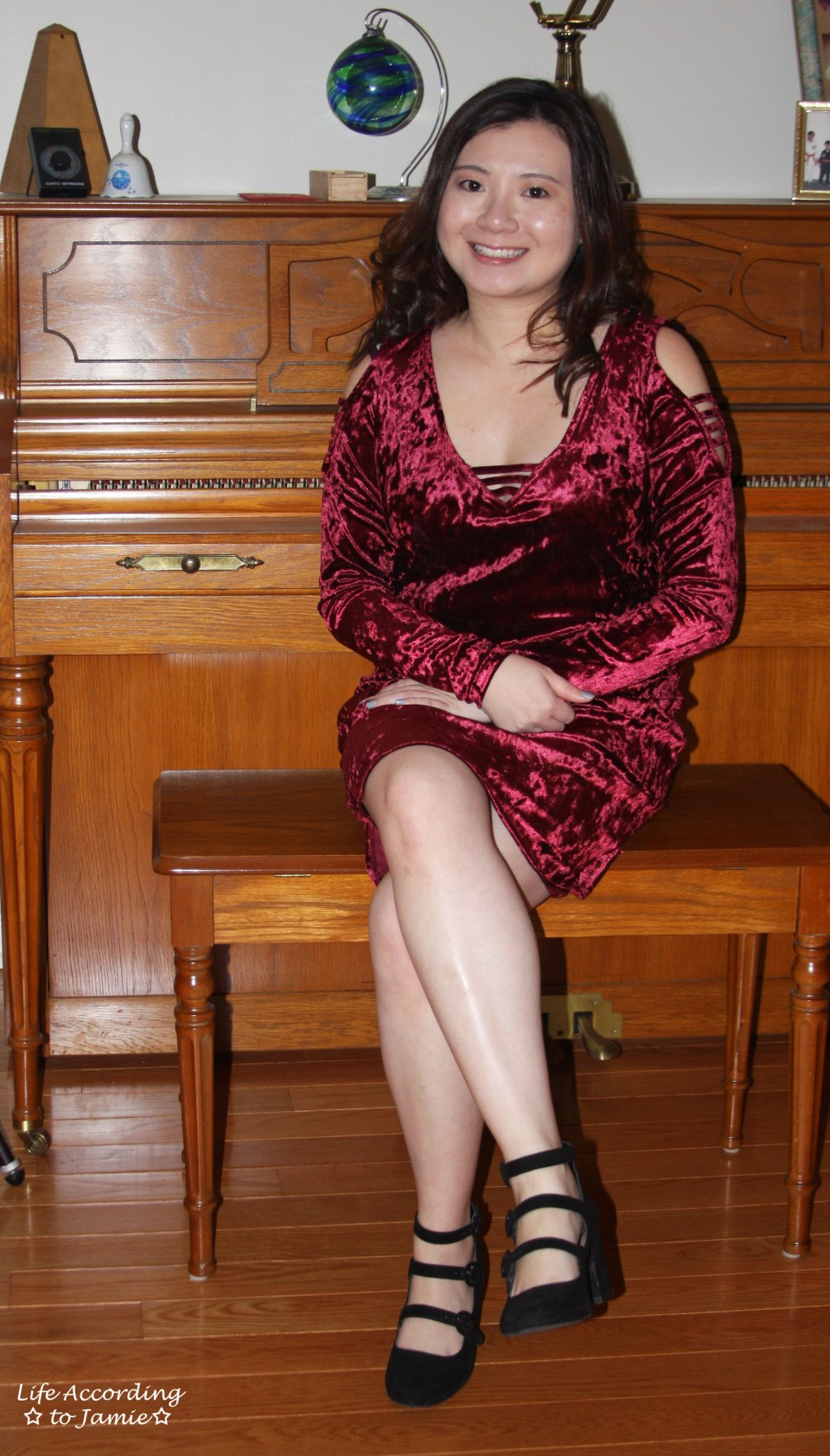 Red Velvet Cold Shoulder Dress 4