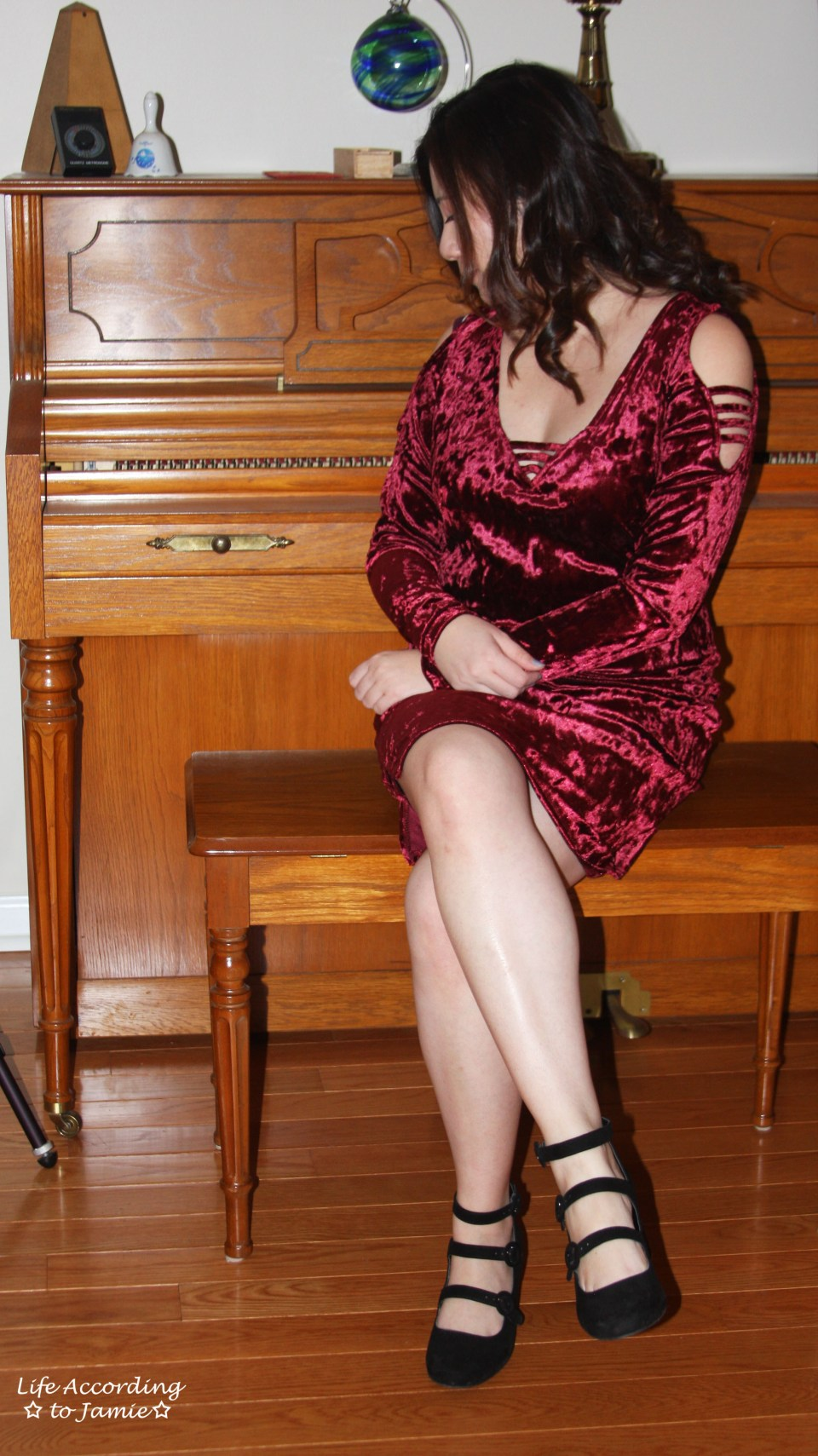 Red Velvet Cold Shoulder Dress 6