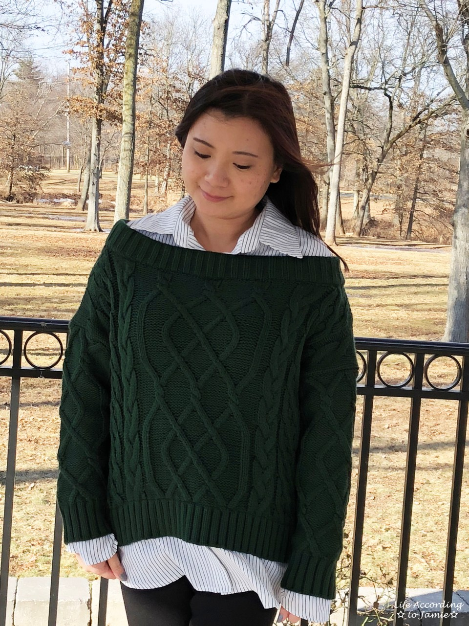 Two-Piece Cable Knit + Collared Shirt 11