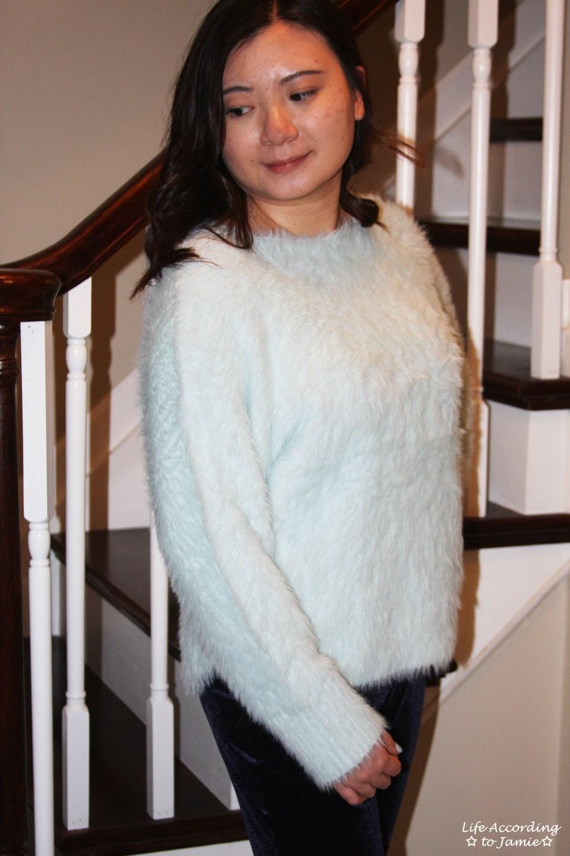 Ice Blue Fuzzy Sweater 3
