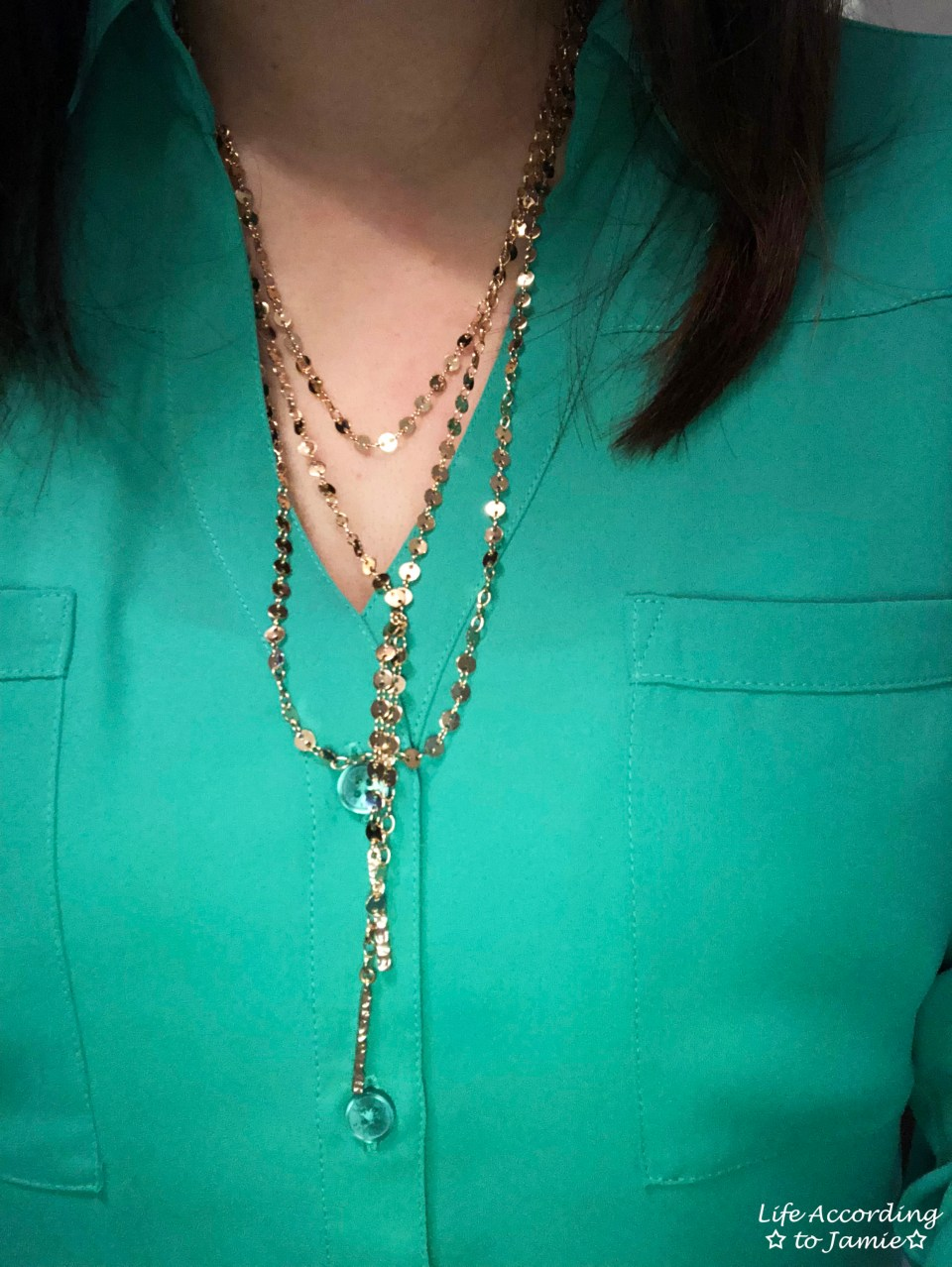Kelly Green Blouse + Gold Layered Necklace 2