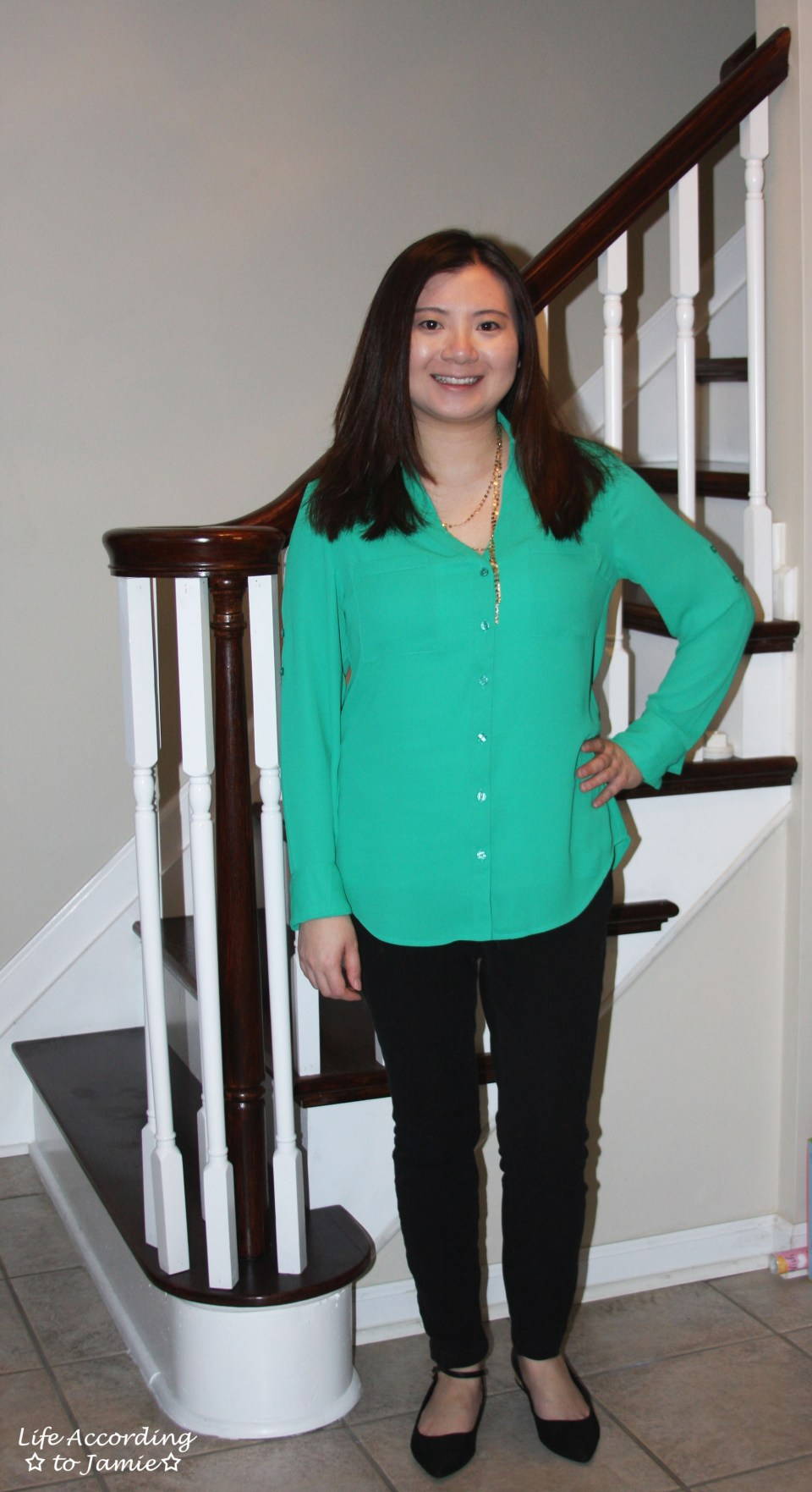 Kelly Green Blouse + Gold Layered Necklace 8