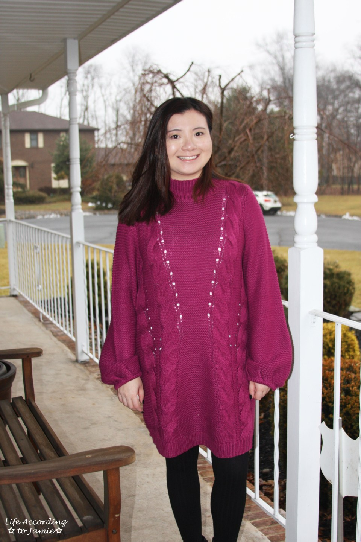 Magenta Balloon Sleeve Sweater Dress 13