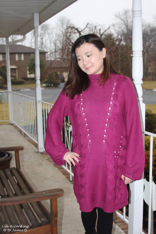 Magenta Balloon Sleeve Sweater Dress 14