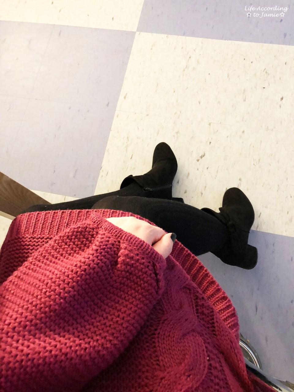 Magenta Balloon Sleeve Sweater Dress 2