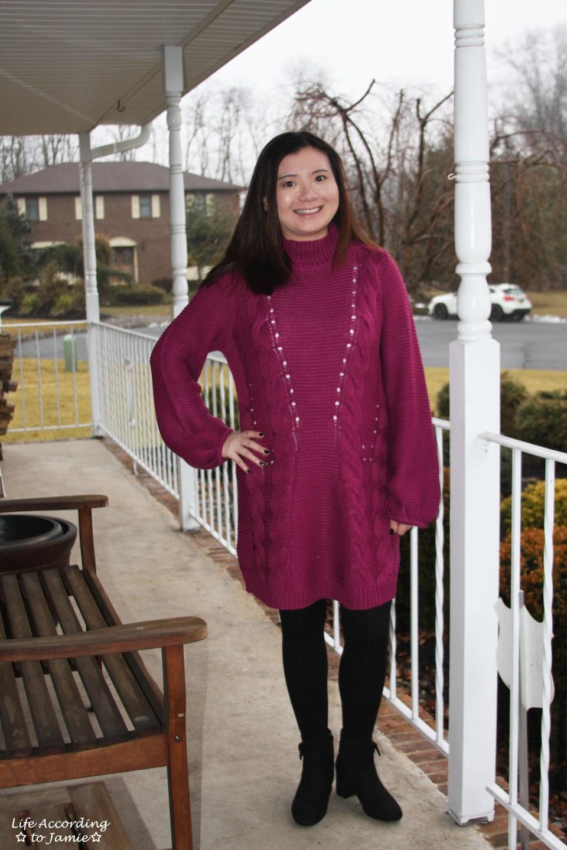 Magenta Balloon Sleeve Sweater Dress 4
