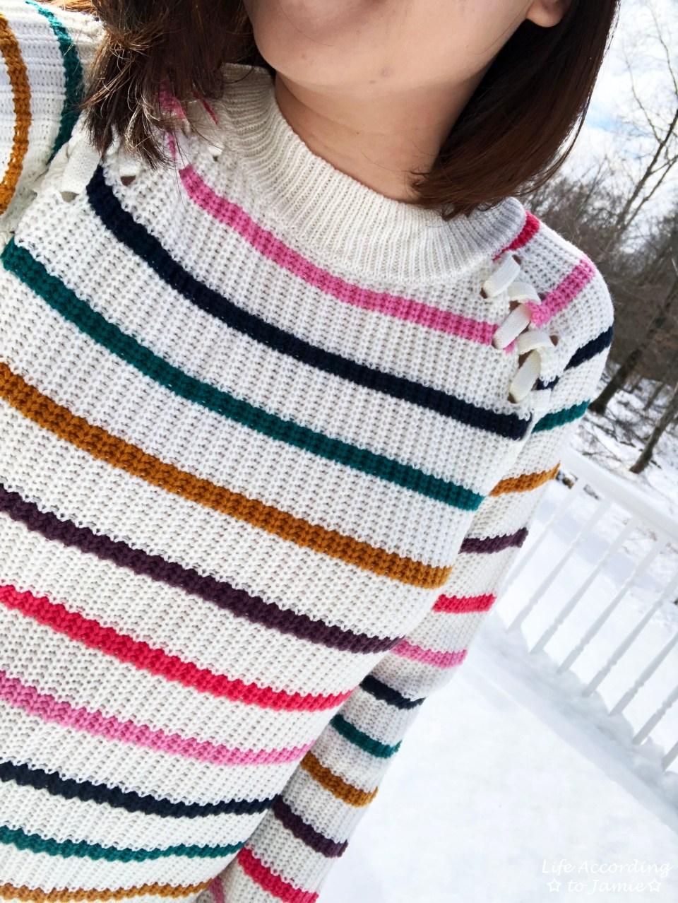 Multicolor Striped Lace-Up 12