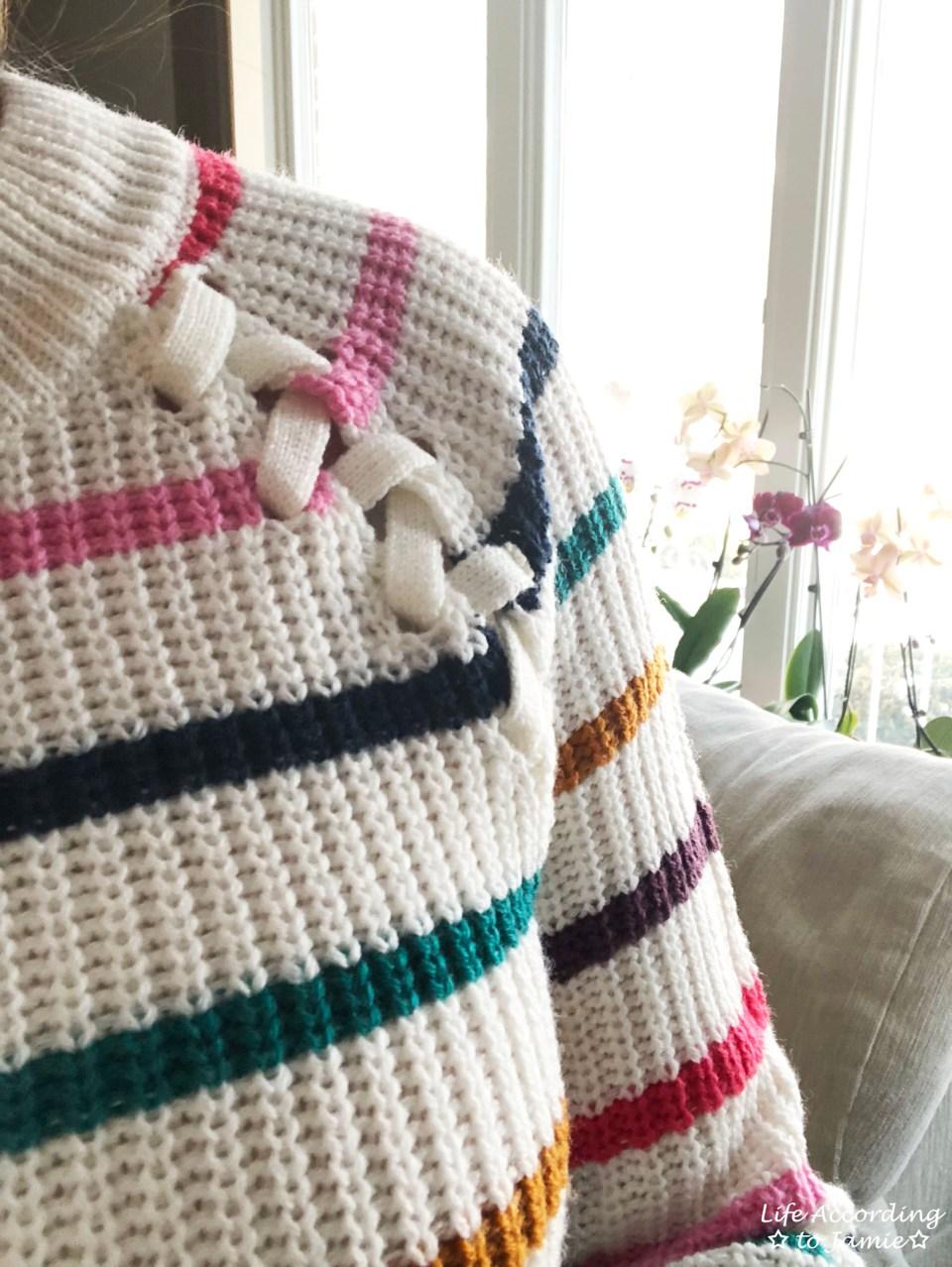 Multicolor Striped Lace-Up