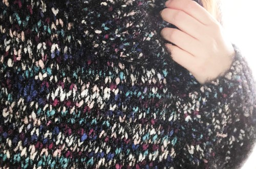 Multicolored Feather Cowl Neck