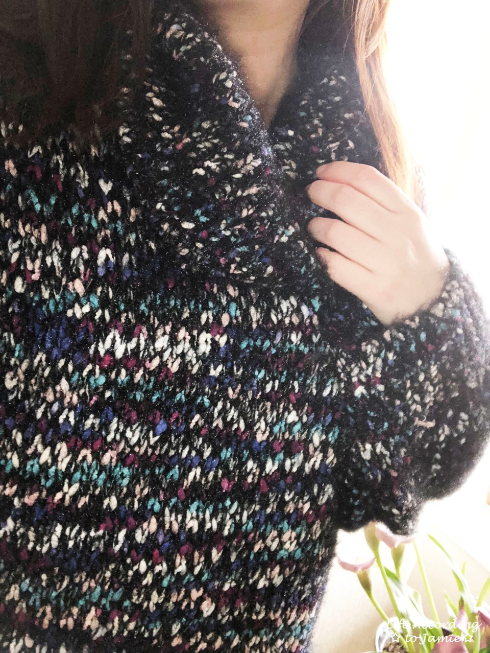 Multicolored Feather Cowl Neck 2
