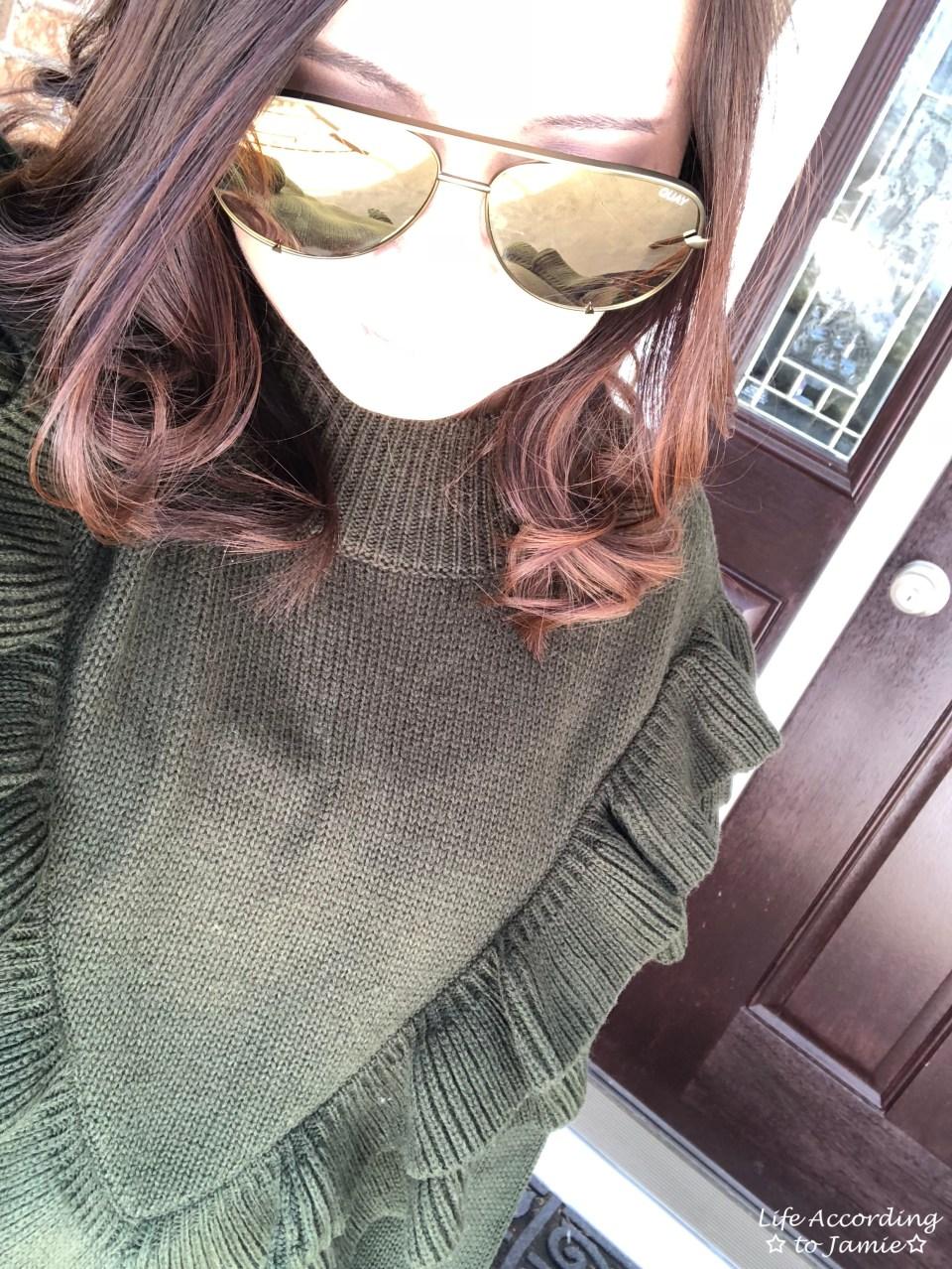 Olive Double Ruffle Sweater 1