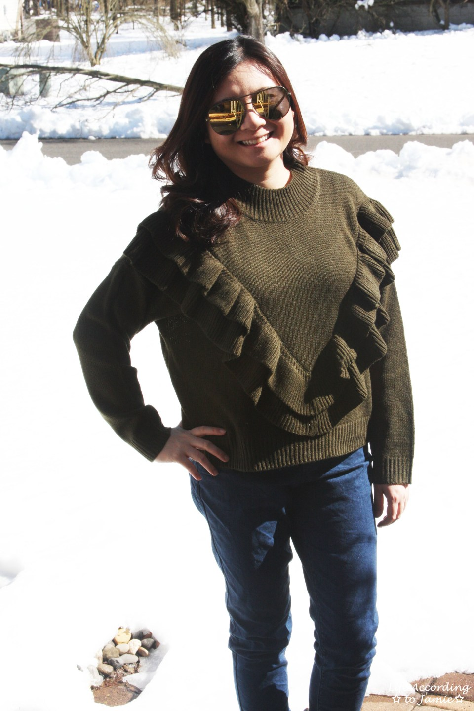 Olive Double Ruffle Sweater 11