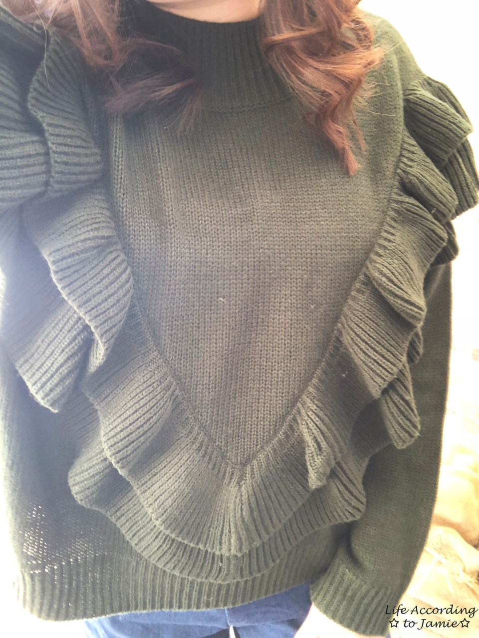 Olive Double Ruffle Sweater 2