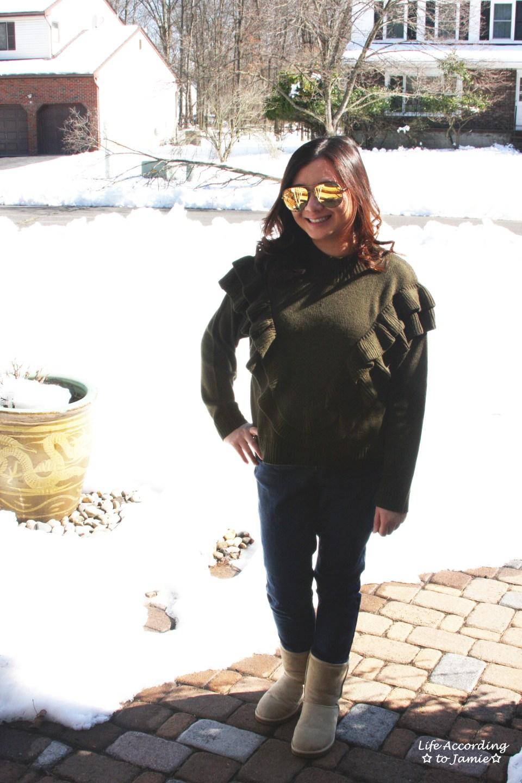 Olive Double Ruffle Sweater 8