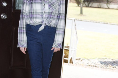 Tied Plaid Top + High Waisted Jeans