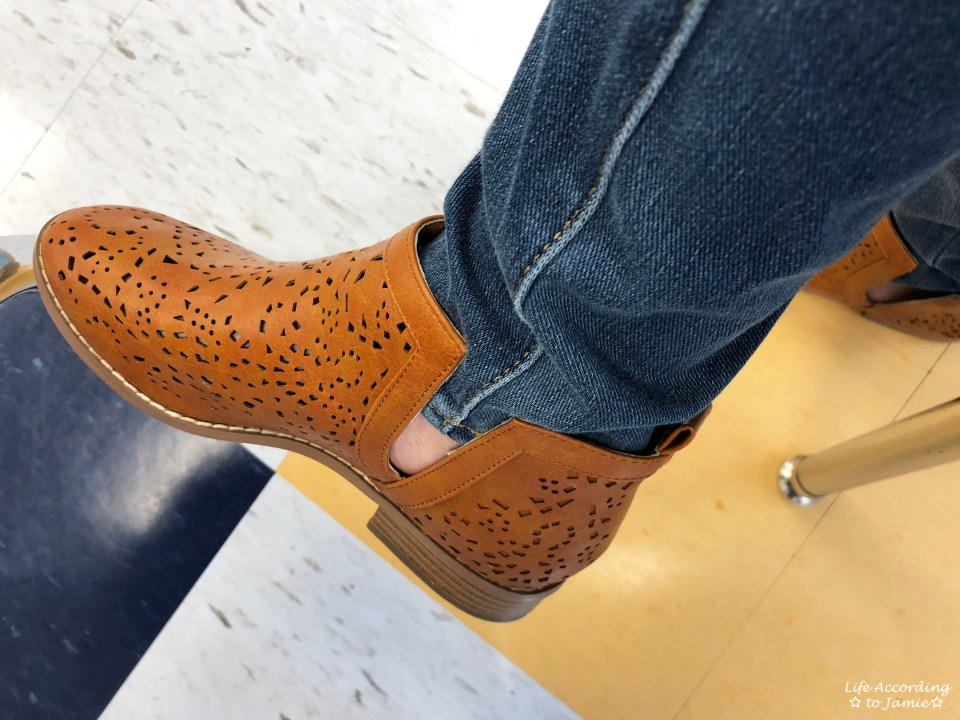 Cognac Laser Cut Booties