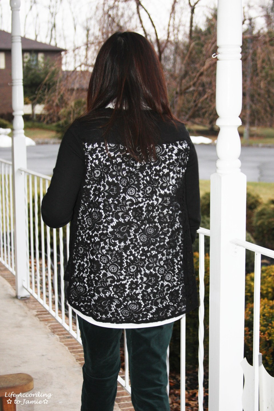 Collared Lace Back Sweater 6