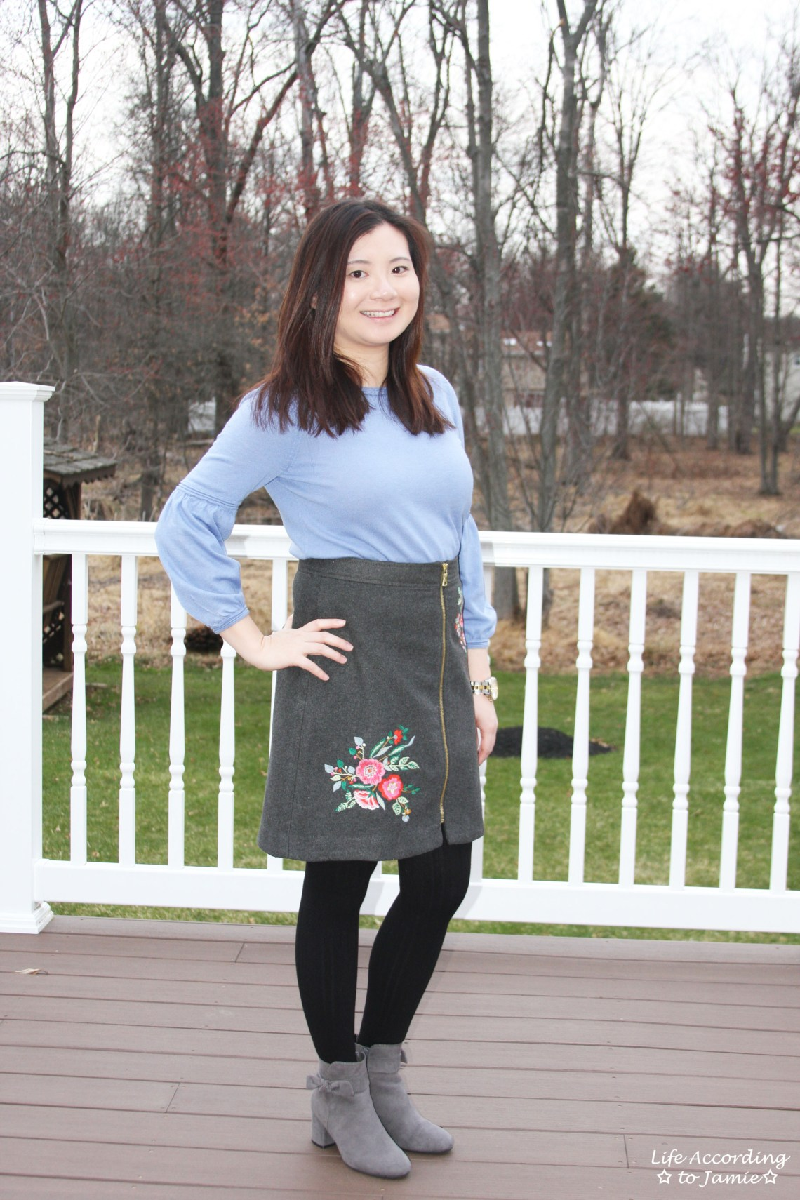 Floral Embroidered Zip Skirt