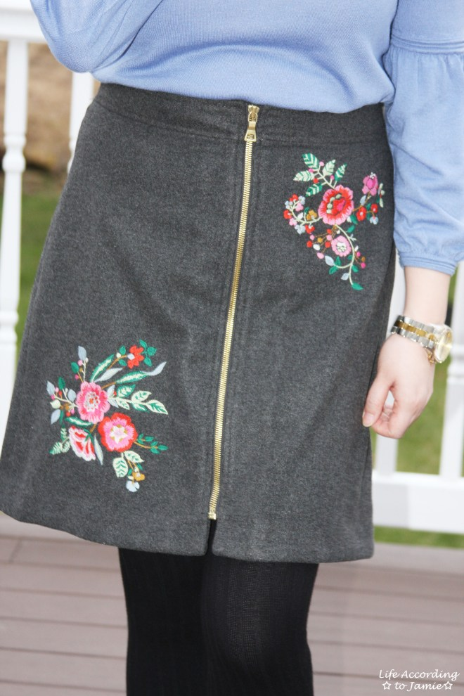 Floral Embroidered Zip Skirt 5