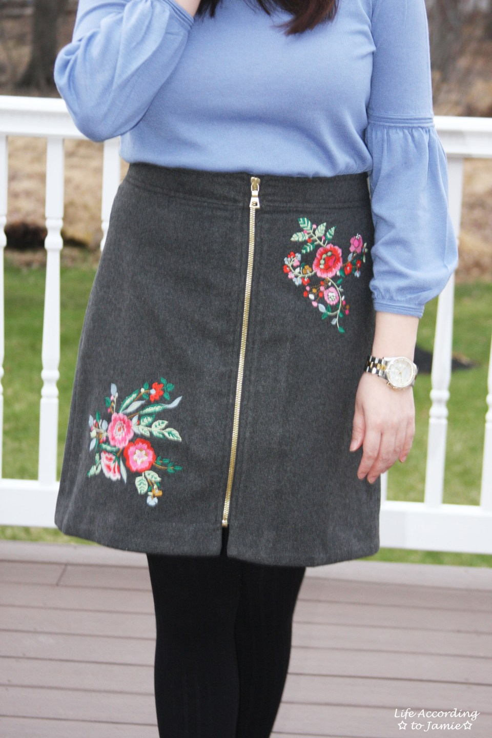 Floral Embroidered Zip Skirt 6