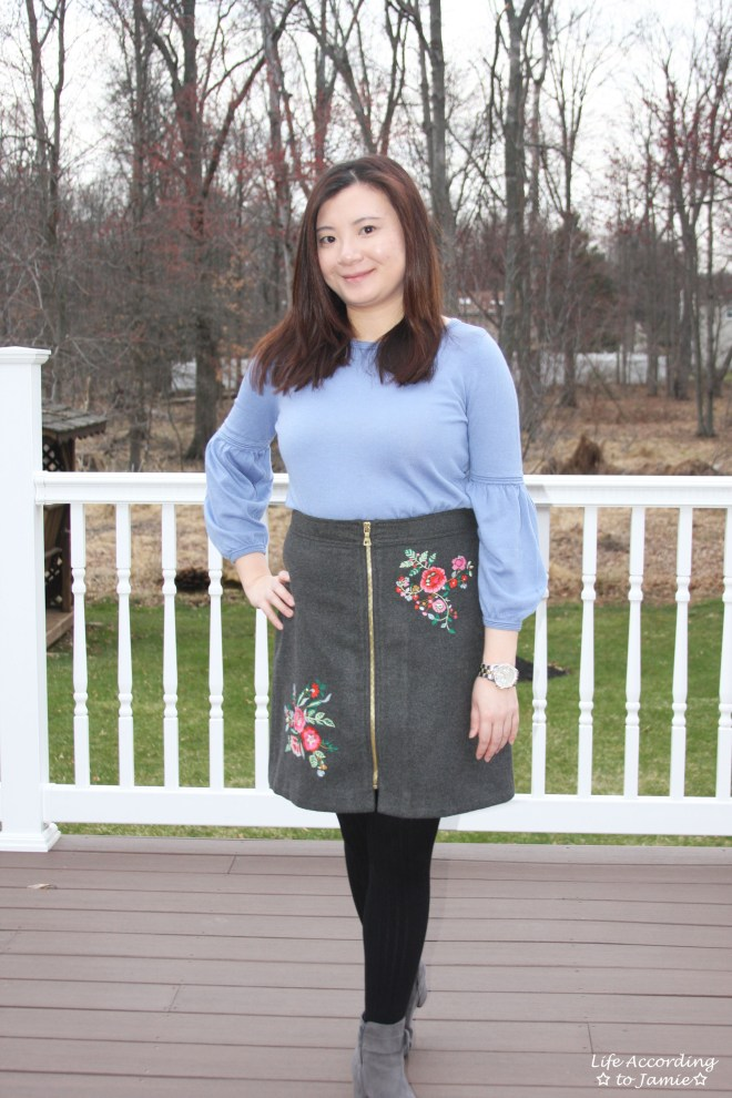 Floral Embroidered Zip Skirt 8
