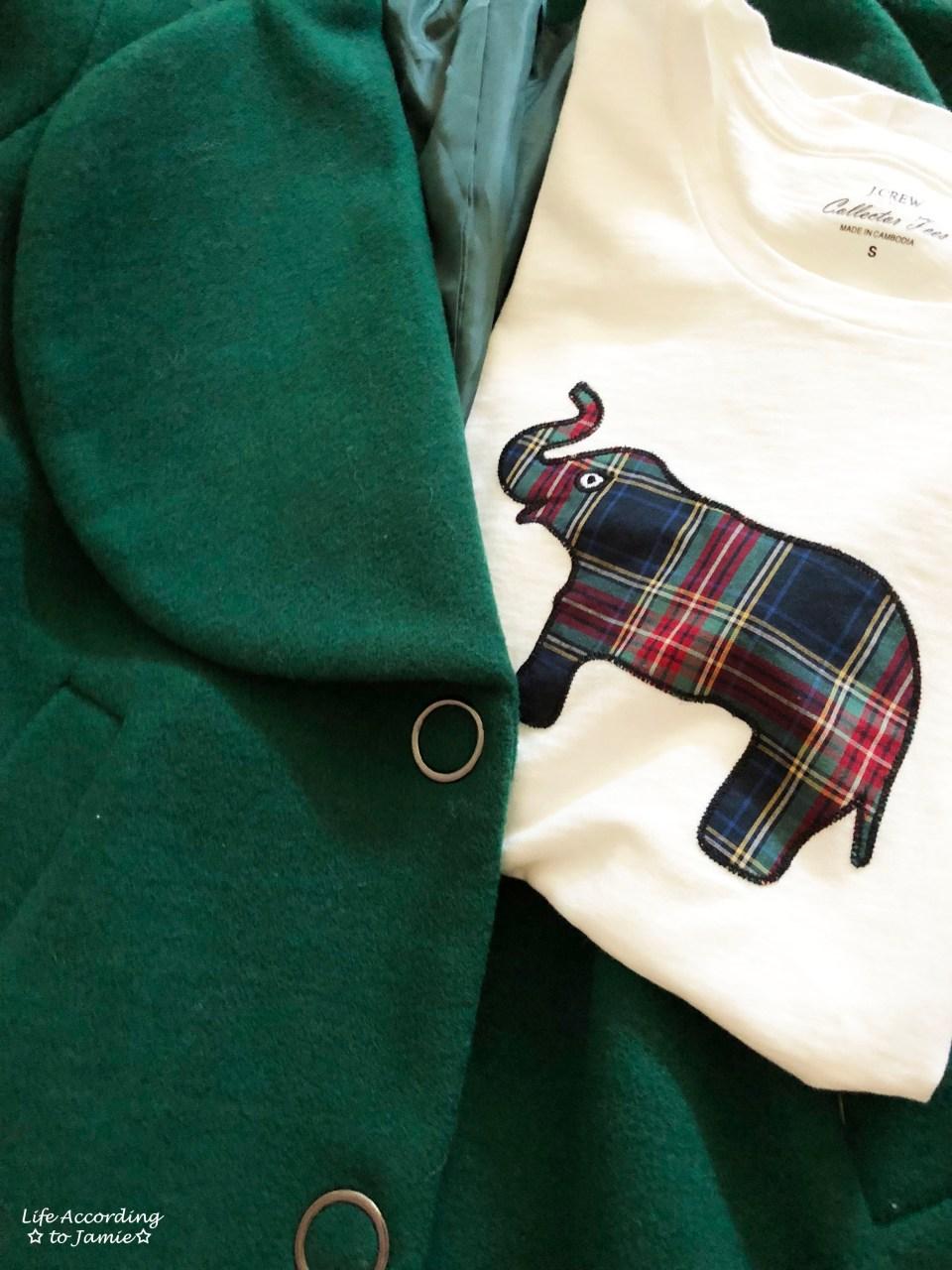 Green Lapel Coat + Plaid Elephant Tee 3