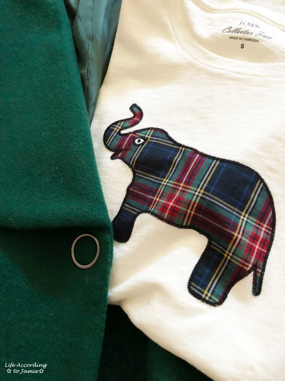 Green Lapel Coat + Plaid Elephant Tee 4