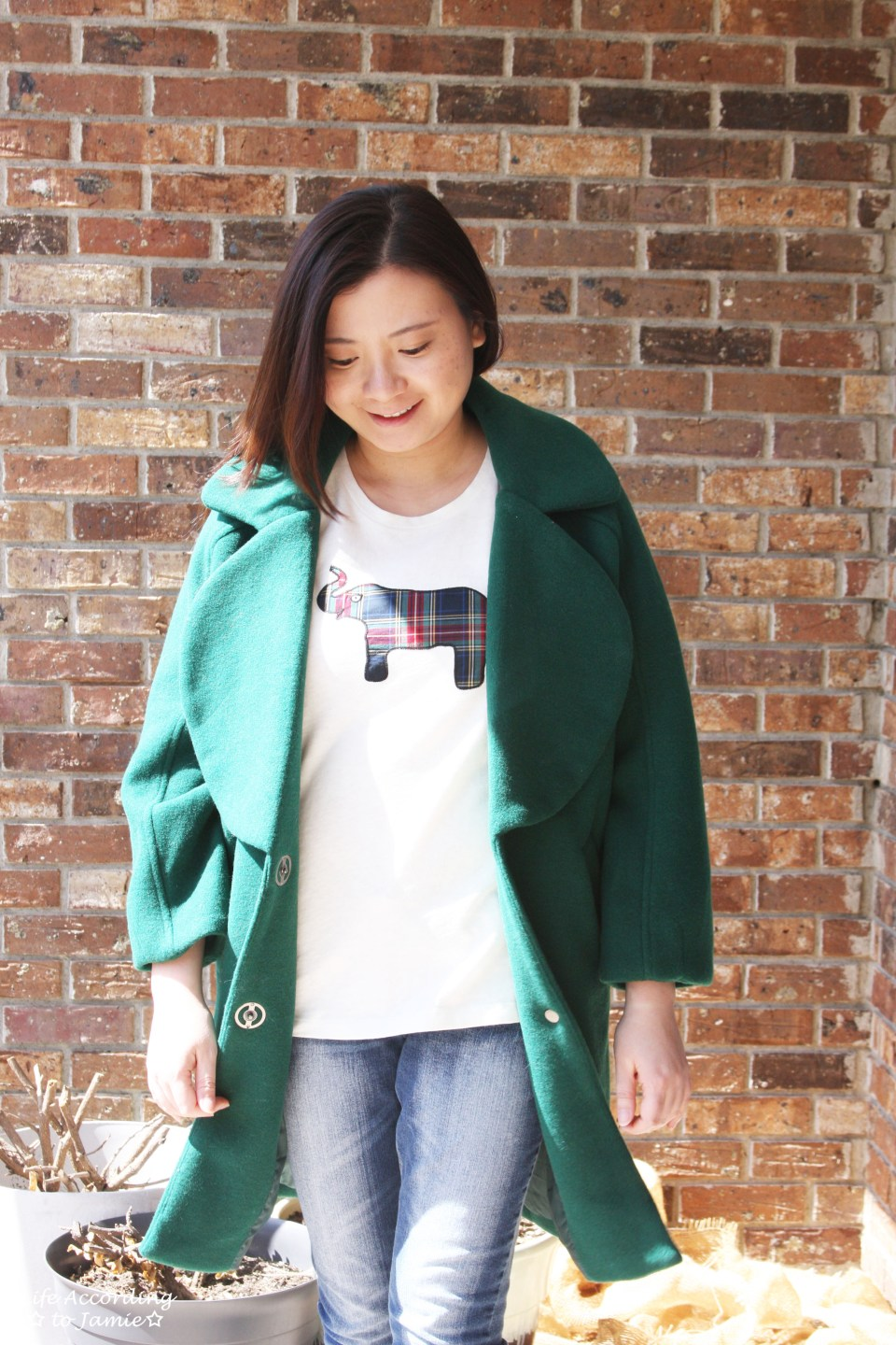 Green Lapel Coat + Plaid Elephant Tee 8