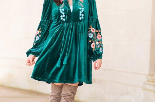 Green Velvet Embroidered Dress