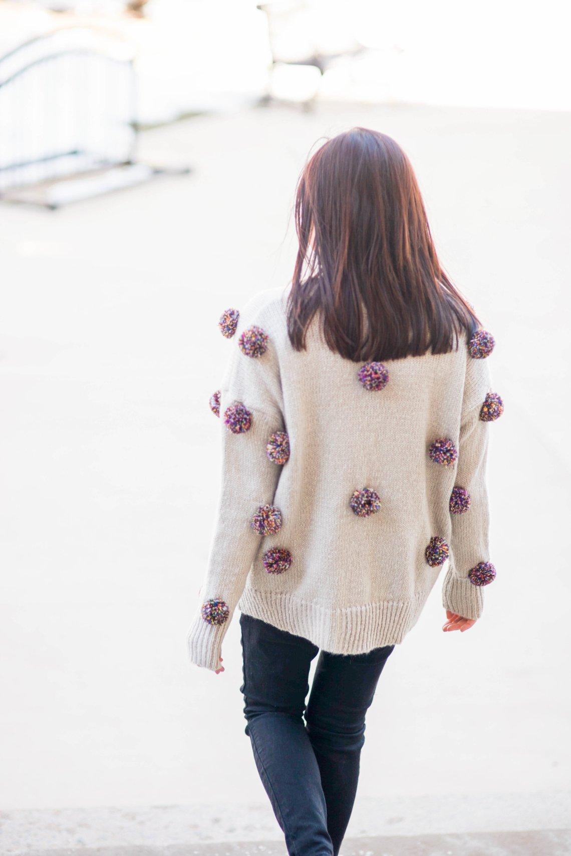 Multicolor Pompom Sweater