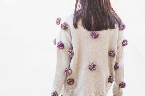 Multicolor Pompom Sweater