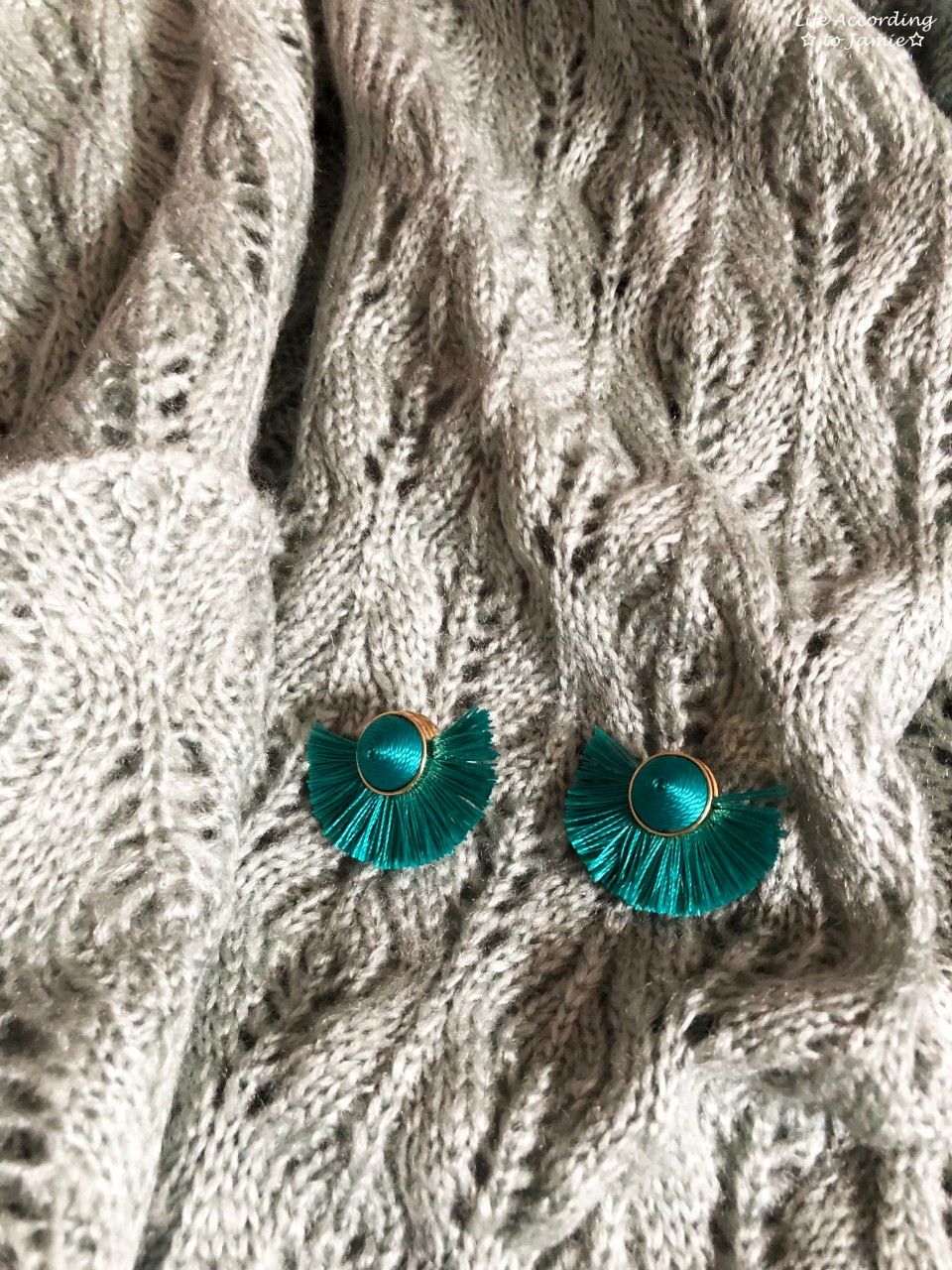 Jadeite Pointelle Cardigan + Teal Tango Earrings