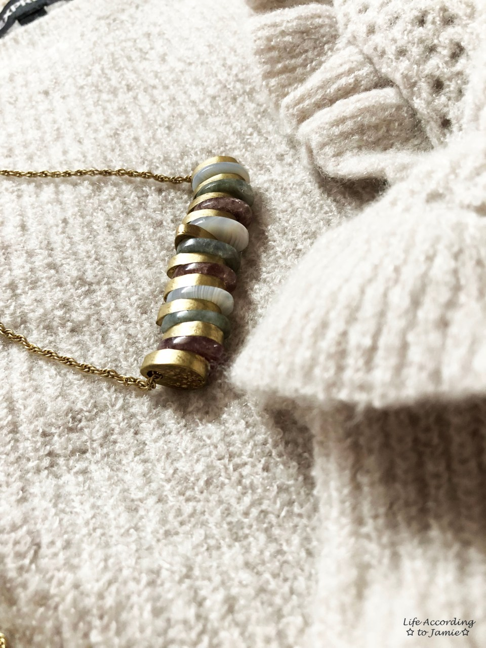 Ruffle Balloon Sleeves + Stone Necklace