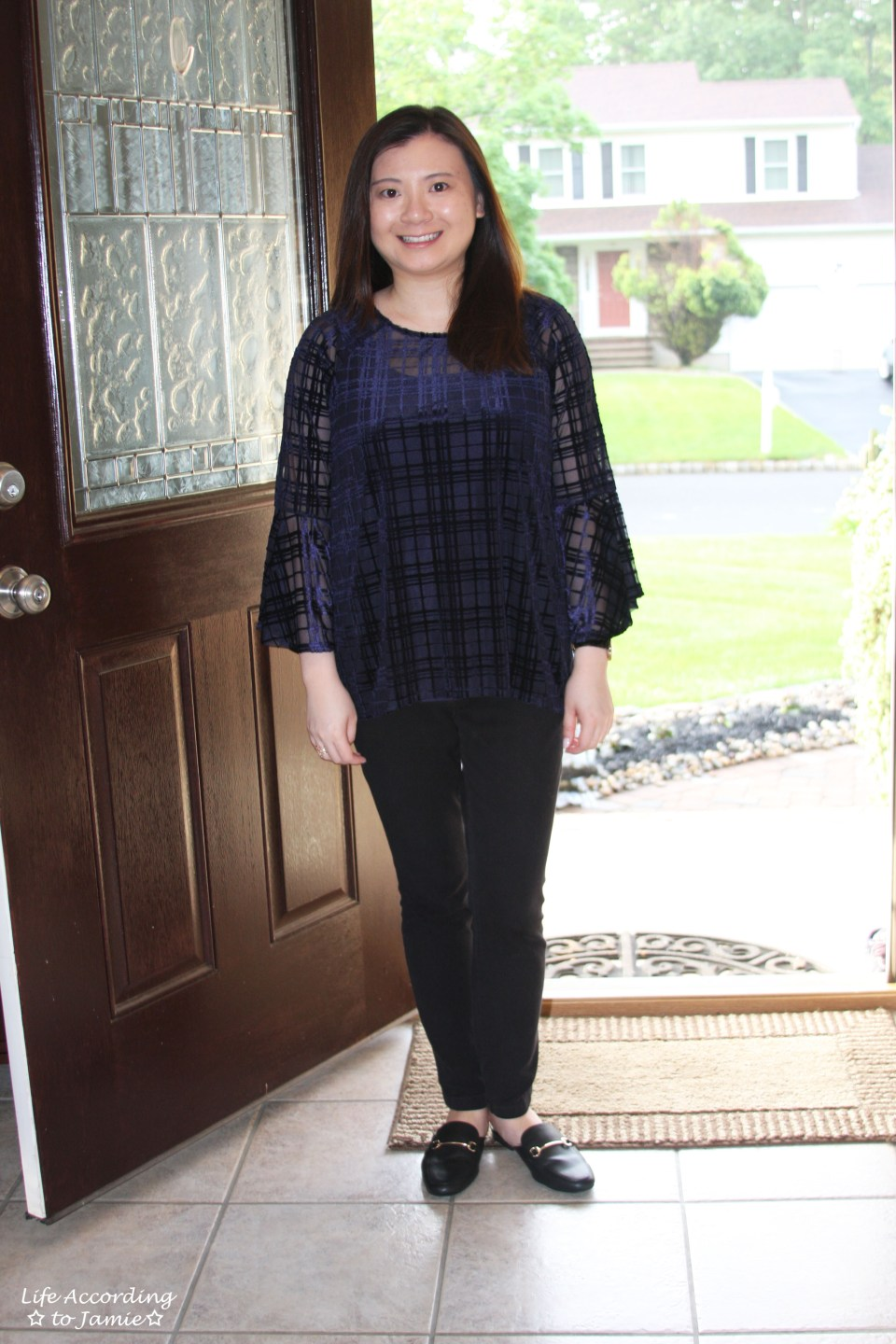 Blue Velvet Plaid Blouse 11