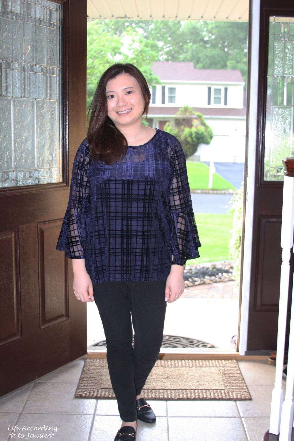 Blue Velvet Plaid Blouse 4