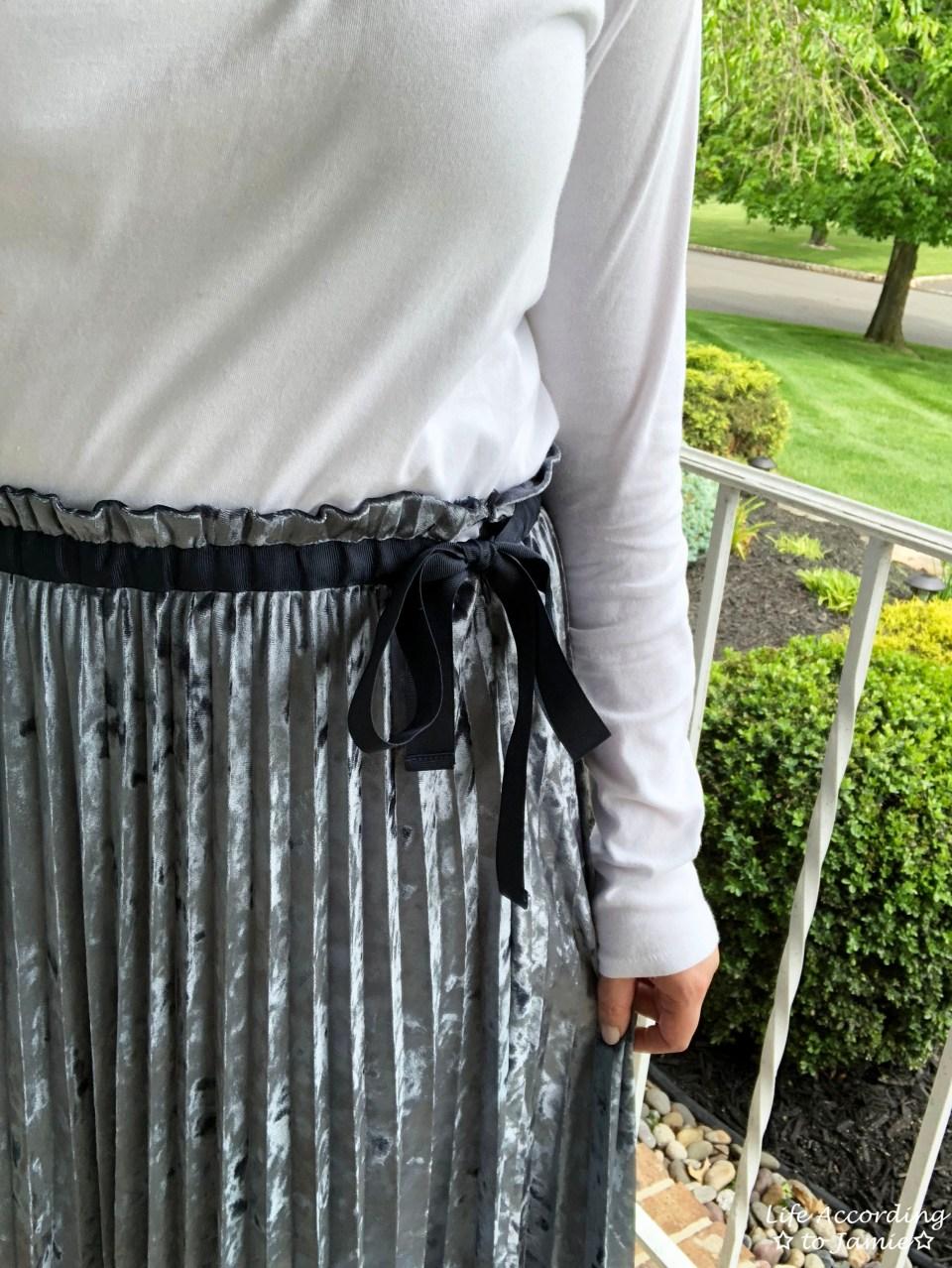 Blue Velvet Pleated Midi Skirt 1