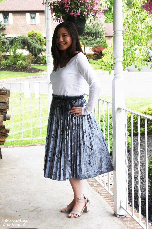 Blue Velvet Pleated Midi Skirt 10